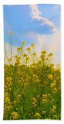 Blue Sky Yellow Flowers Beach Towel