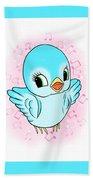 Blue Song Bird Beach Towel