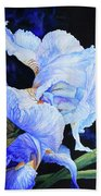 Blue Summer Iris Beach Towel