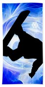 Blue Swirl Snowstorm Beach Towel