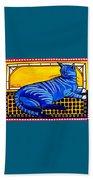 Blue Tabby - Cat Art By Dora Hathazi Mendes Beach Towel