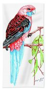 Blue Tail Parrot - Green Day Beach Towel