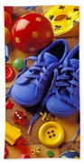 Blue Tennis Shoes Beach Towel by Garry Gay
