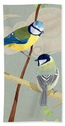 Blue Tit And Great Tit Beach Towel