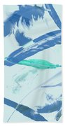 Blue Toned Artistic Feather Abstract Beach Towel