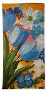 Blue Tulip Trio Beach Towel