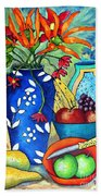 Blue Vase With Orange Flowers Beach Towel