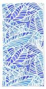 Blue Water Leaves Beach Towel