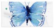 Blue Watercolor Butterfly Beach Sheet