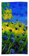 Blue Wild Flowers Beach Towel