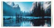 Blue Winter Fantasy. L A With Decorative Ornate Printed Frame. Beach Towel