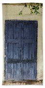 Blue Wood Door Beach Towel