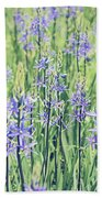 Bluebell Bluebells Flowers Blooming In Spring Beach Towel