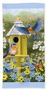 Bluebird Garden Home Beach Towel by Crista Forest