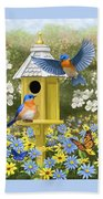 Bluebird Garden Home Beach Sheet by Crista Forest
