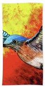 Bluebird In Flight Beach Towel