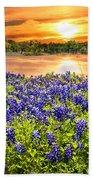 Bluebonnet Sunset  Beach Towel