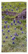 Bluebonnets And Fallen Tree - Texas Hill Country Beach Towel