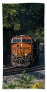 Bnsf Coming Around The Curve Beach Towel