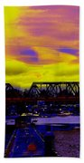 Bnsf Trestle At Salmon Bay Beach Towel