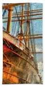 Boat - Ny - South Street Seaport - Peking Beach Towel by Mike Savad