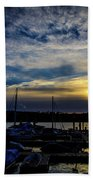 Boat Harbor At Sunset Beach Towel