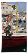 Boat On Hydra Beach Towel