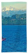 Boat On Llanquihue Lake From Puerto Varas-chile Beach Towel