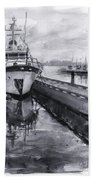 Boat On Waterfront Marina Kirkland Washington Beach Towel