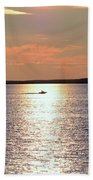 Boat Passing By Beach Towel