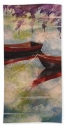 Boat Reflections Watercolor Painting Beach Towel