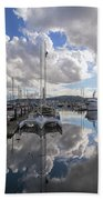 Boat Slips At Anacortes Cap Sante Marina In Washington State Beach Towel