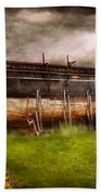 Boat - The Construction Of Noah's Ark Beach Towel by Mike Savad