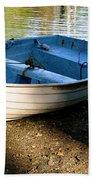 Boat Under The Bridge Beach Towel