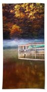 Boathouse In Autumn Oil Painting Beach Towel