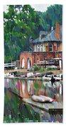 Boathouse Row In Philadelphia Beach Towel by Bill Cannon