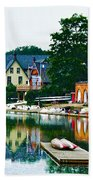 Boathouse Row In Philly Beach Towel by Bill Cannon