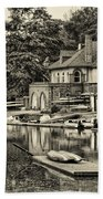Boathouse Row In Sepia Beach Towel by Bill Cannon