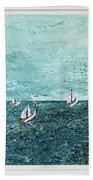 Boats And Birds Beach Towel