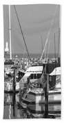 Boats And Reflections B-w Beach Towel