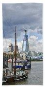 Boats And Shard And Tower Bridge Beach Towel