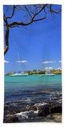 Boats At Anaehoomalu Bay Beach Sheet