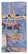 Boats At Royan Beach Towel