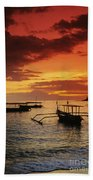 Boats At Senggigi Beach Towel