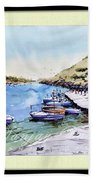 Boats In Spain Beach Towel