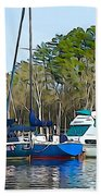 Boats In The Water Beach Towel