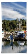 Boats In Winchester Bay Beach Towel