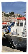 Boats On Hydra Beach Towel