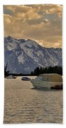 Boats On Jackson Lake At Sunset Beach Towel