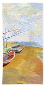 Boats On The Beach At Saintes-maries After Van Gogh Beach Towel